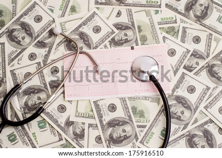 stethoscope over ecg graph on a background of 100 dollar bills - stock photo