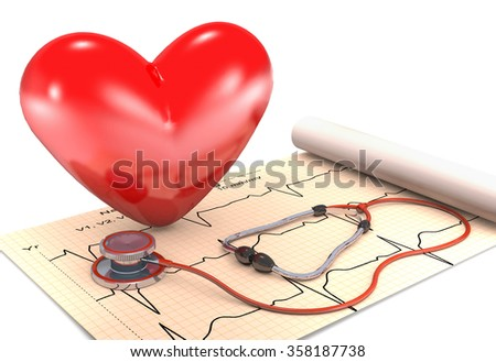 Stethoscope, paper, cardiogram and red heart are on white background. - stock photo