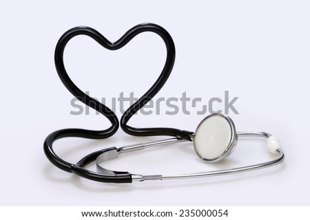 Stethoscope that forms a heart, on white background
