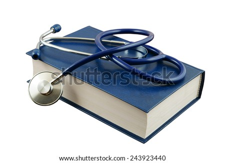 Stethoscope with book isolated on white