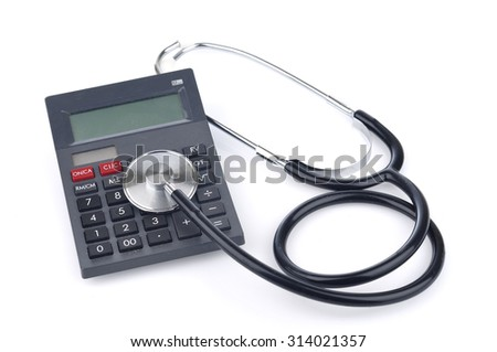 Stethoscope With Calculator on White Background, Healthcare Cost Concept