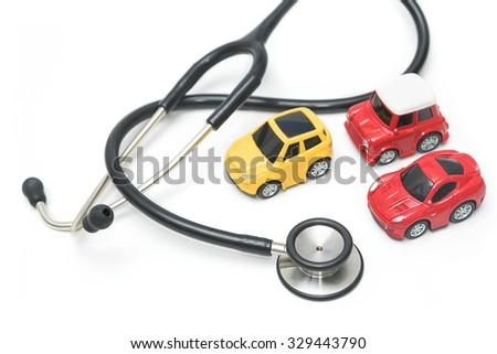 Stethoscope with car , maintenance and repair concept