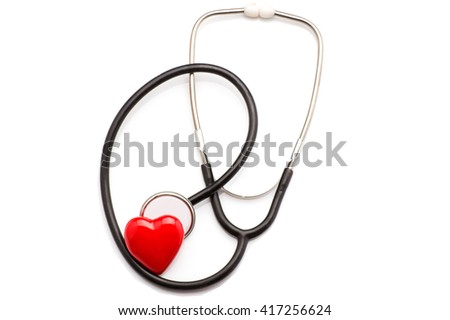 Stethoscope with heart isolated on white background
