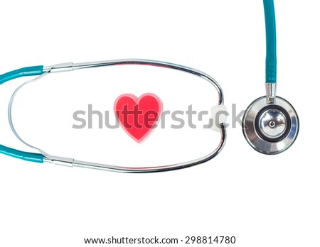 Stethoscope with heart on white background. - stock photo