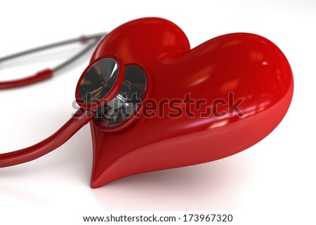 Stethoscope with Heart on white background with depth of field - stock photo