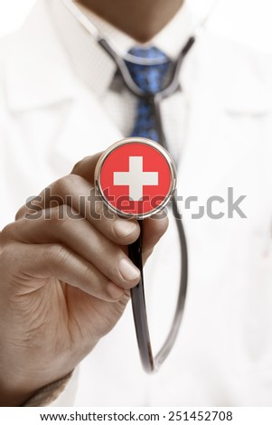 Stethoscope with national flag conceptual series - Switzerland