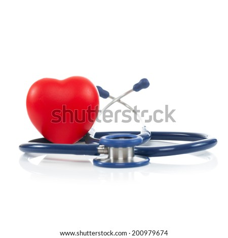 Stethoscope with red heart - 1 to 1 ratio - stock photo