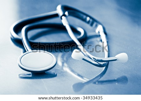stethoscope with reflection and blue tint