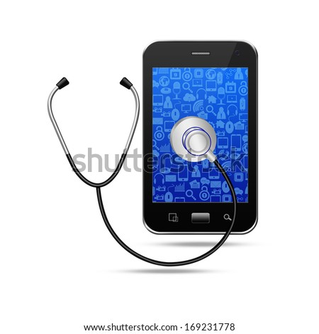 Stethoscope with  smartphone,cell phone illustration