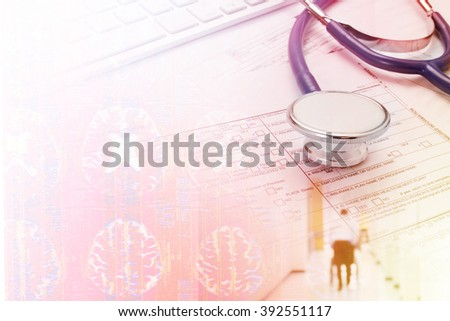 stethoscope with x ray film for medical background