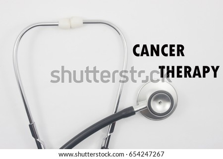 stethoscope wtih word cancer theraphy isolated on white background