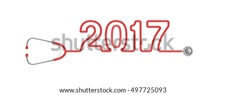 Stethoscope year 2017 / 3D illustration of stethoscope tubing forming 2017 text