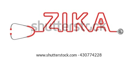 Stethoscope ZIKA type / 3D illustration of stethoscope tubing forming ZIKA text