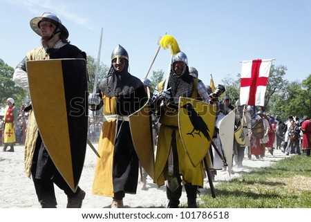 STETTENFELS, GERMANY - MAY 1: Medieval knights used in battle, tournament at the Castle Stettenfels on May 1, 2012 in Stettenfels, Germany. - stock photo