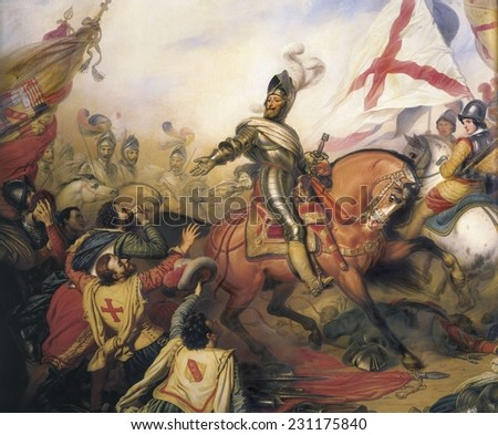 STEUBEN, Baron Charles von (1788-1856), Henri IV's Mercy after the Battle of Ivry, ca. 1828 - 1833, Soffit, Protestan troops of Henri IV fought the catholics in this war episode on the 14th March - stock photo