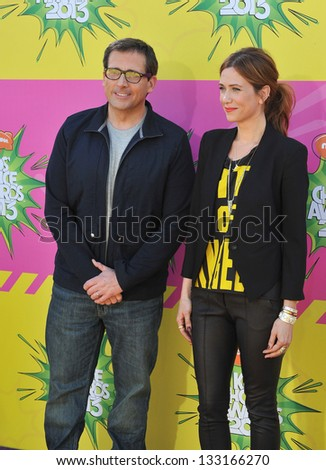 Steve Carell & Kristen Wiig at Nickelodeon's 26th Annual Kids' Choice Awards at the Galen Centre, Los Angeles. March 23, 2013  Los Angeles, CA Picture: Paul Smith - stock photo