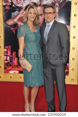 "Steve Carell & wife at the world premiere of his movie ""The Incredible Burt Wonderstone"" at the Chinese Theatre, Hollywood. March 11, 2013  Los Angeles, CA Picture: Paul Smith - stock photo"