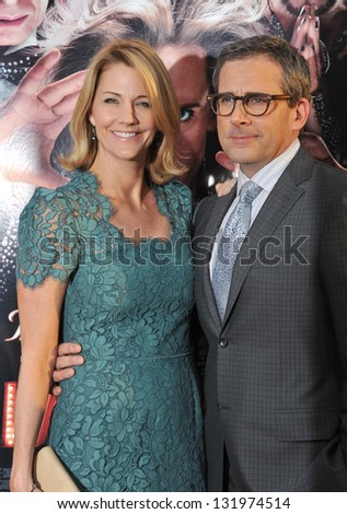 "Steve Carell & wife at the world premiere of his movie ""The Incredible Burt Wonderstone"" at the Chinese Theatre, Hollywood. March 11, 2013  Los Angeles, CA Picture: Paul Smith"