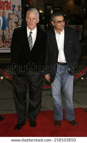 """Steve Martin and Eugene Levy attend The 20th Century Fox World Premiere of """"Cheaper By The Dozen 2"""" held at The Mann Village Theatres in Westwood, California on December 13, 2005.   - stock photo"""