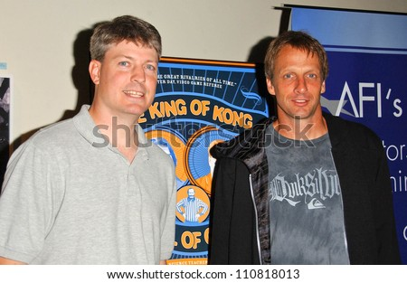 Steve Wiebe and Tony Hawk at the Los Angeles Premiere of The King of Kong a Fistful of Quarters. Arclight Theaters, Hollywood, CA. 08-16-07