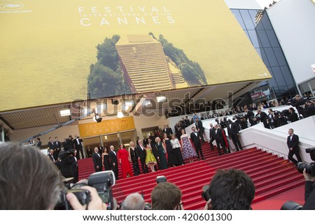 Steven Spielberg and cast attend the BFG premiere, red carpet arrivals during The 69th Annual Cannes Film Festival on 14 may 2016 at palais du festival - stock photo