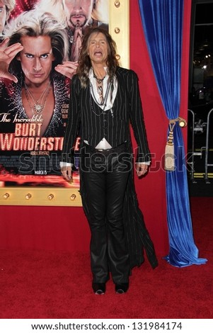 "Steven Tyler at the World Premiere of ""The Incredible Burt Wonderstone"" Chinese Theater, Hollywood, CA 03-11-13"