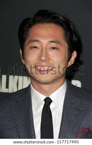 "Steven Yeun at ""The Walking Dead"" Season Four Premiere, AMC Universal Citywalk Stadium 19,  Universal City, CA 10-03-13 - stock photo"