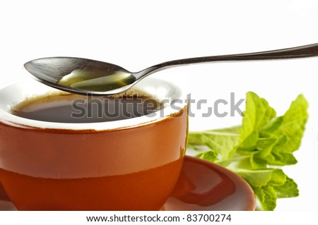 Stevia rebaudiana the herbal support for sugar - stock photo