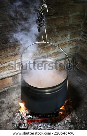 Stew, Cauldron on the fire - stock photo