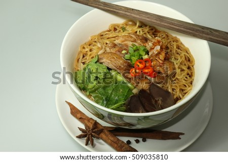 Stew Duck Noodle with seasoning spices