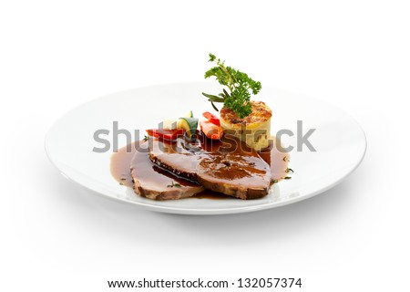 Stew Mutton with Vegetables and Mash - stock photo