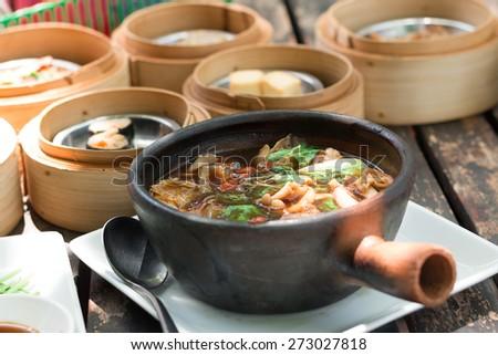 stew of pork and herbal soup, ba kut teh - stock photo