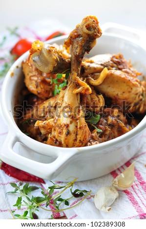 stewed chicken pieces - stock photo