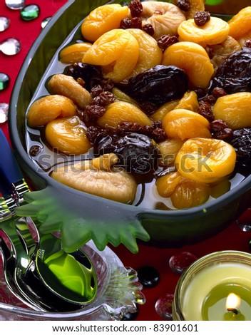 Stewed dried fruit salad - stock photo
