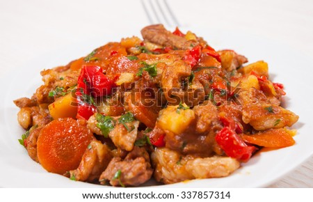 stewed meat with vegetables mix