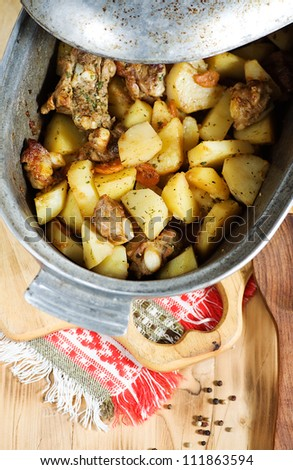 Stewed potato with meat - stock photo
