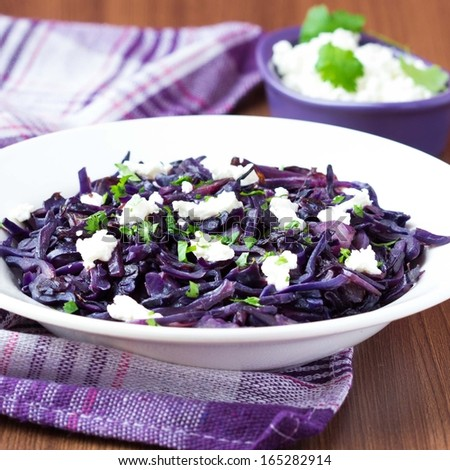 Stewed red cabbage with feta cheese, cilantro, healthy dish, tasty garnish - stock photo