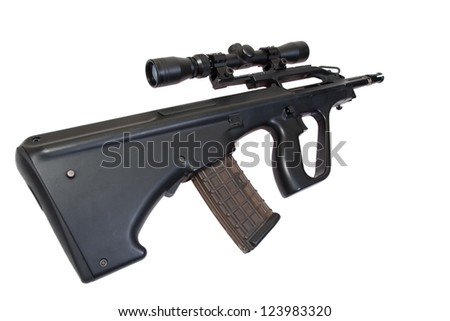 steyr aug rifle isolated on a white background