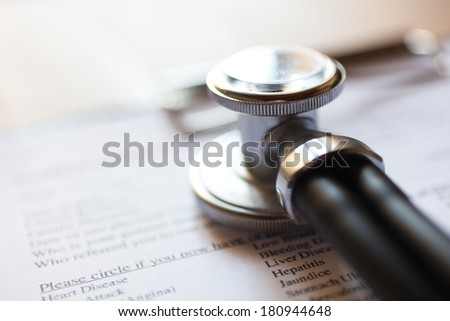 Sthethoscope and medical documents