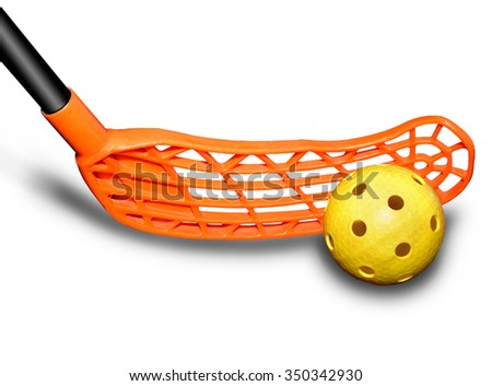 Stick and ball games in floorball.The  image on a white background - stock photo
