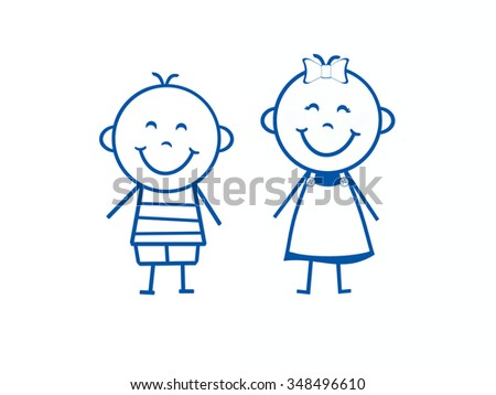Stick Figure Boy and Girl - stock photo