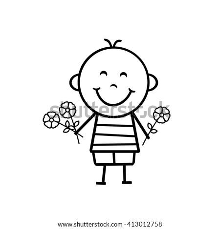Stick Figure Boy - Flowers - stock photo