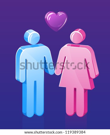 Stick Figure couple holds hands and loves each other. - stock photo