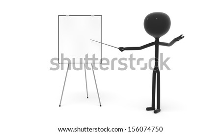 Stick Figure Doing a Presentation with a White Board Against a White Background - stock photo