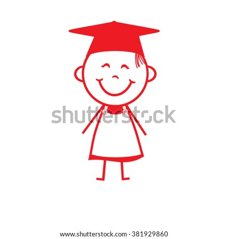 Stick Figure Girl - Graduation - stock photo