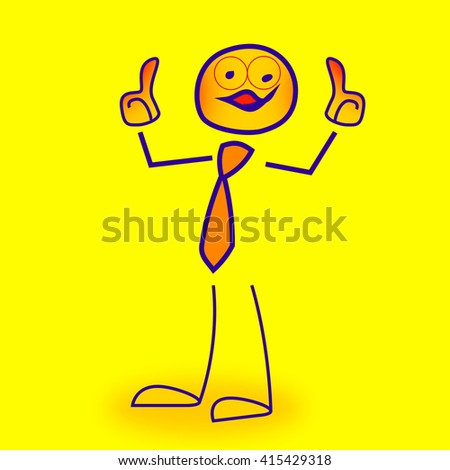 Stick figure holds for consent thumbs up
