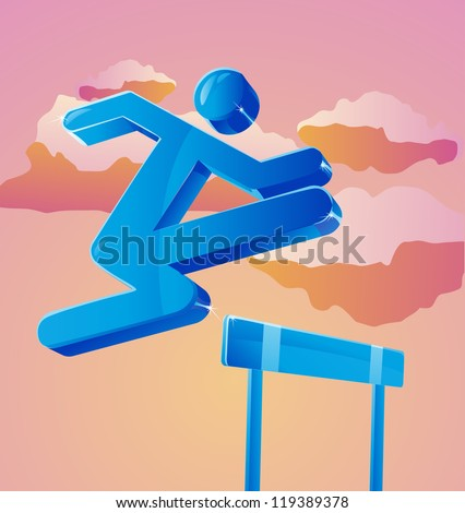 Stick figure jumps over obstacle. Can represent business person overcoming challenges. - stock photo