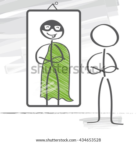 Stick figure sees a superhero in the reflection - stock photo