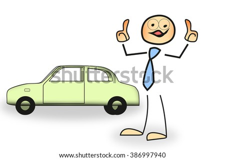 Stick figure with automobile - stock photo