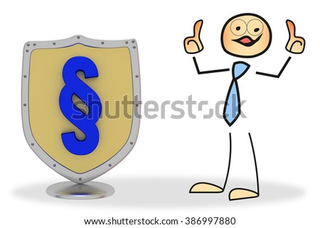 Stick figure with shield - stock photo